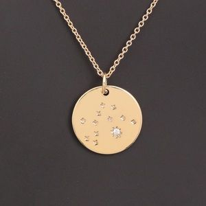 AQUARIUS | Zodiac Gold Coin Dainty Necklace